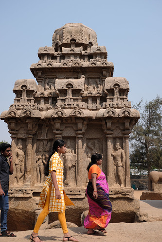 Girls Passing By Temple