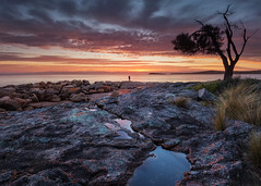 The Hazards (beaugraph) Tags: freycinetnationalpark tasmania sunset water rocks thehazards colesbay colourful couple love sky clouds tree