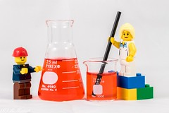 Science for Everyone! (Ronda Hamm) Tags: legos erlenmyerflask lego closeup solution flask beaker flash red 100mm studio liquid canon science 7dii scientists