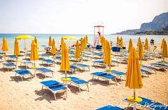 Ready for the high season (johannesotte84) Tags: beach sicily mondello yellow blue sea italy italien lonely season low palermo otte canon 6d sigma 35mm fine art travel