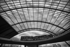 Bus in outer space? (PaulHoo) Tags: bus amsterdam transport building architecture bw monochrome blackandwhite nikon d700 perspective art interior holland netherlands design transportation