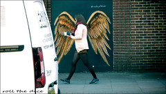 `1961 (roll the dice) Tags: london oldstreet redemption shoreditch ec1 traffic surreal streetphotography people natural pretty sexy girl art classic uk urban england graffiti colour angel wings mad sad funny timing legs angle view fashion shops shopping tourism canon portrait stranger lunch candid londonist streetculture money purse wall dirty