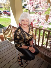 The Woman On The Front Porch (Laurette Victoria) Tags: porch leggings silver milwaukee laurette woman sandals spring magnolia