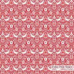 Lovebirds Pattern - Red (emily dyer) Tags: flowers red flower cute bird art floral birds illustration hearts design pattern heart sweet patterns surfacedesign illustrator sweetheart emilydyer