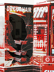 Dr Cut (Steve Taylor (Photography)) Tags: street door city red christchurch broken window glass st hair studio point spiral earthquake long open cut dr twist canterbury sharp short quake southisland duotone medium smashed dreads shards cracked colombo hairdressers trays barbers redzone permanentwave