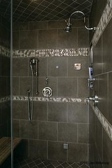 shower (SimoneFeldmanDesigns,LLC.) Tags: lighting wood glass stone tile bathroom shower doors floor mosaic vanity mirrors tub granite cabinets hardwood soaking