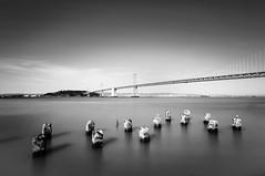 Flat water (morozgrafix) Tags: longexposure bridge blackandwhite bw water landscape bay diy baybridge pylons weldingglass sigma1020mmf456 nikond5000