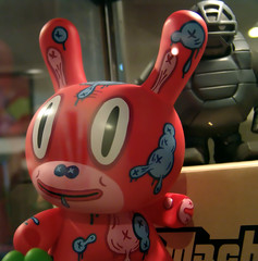 Vinyl Red Bunny Figure (See El Photo) Tags: red 15fav favorite rabbit bunny face kids fun toy object vinyl figure fav faved longears toyface