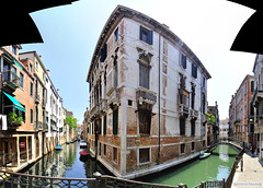 Venezia - panoramic picture of a street and a canal