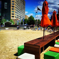 detroit beach: literally a beach in the middle of downtown detroit