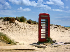 Desolate Phone Box (Beardy Vulcan) Tags: sea summer england beach concrete coast seaside sand phone box telephone dune july dorset kiosk sanddune desolate 2009 phonebox studland isleofpurbeck