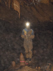 Tommy at work (station CAR3) (g.s.springer) Tags: wv westvirginia cave stalagmite exploration discovery survey stalactite surveyin