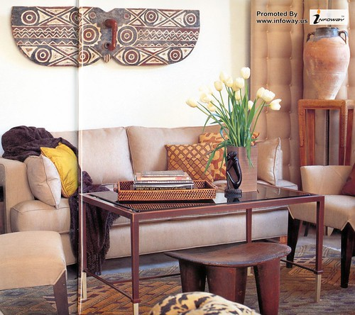 Contemporary Living Room with Traditional African Style Furniture in Wood Color