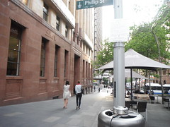 . (RubyGoes) Tags: city blue trees red white bus green leaves cafe beige women chairs sydney australia bin nsw tables umbrellas martinplace lindt phillipstreet