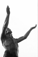 Untitled (49) (dvlmnkillatron) Tags: bw film statue analog 35mm illinois olympus nativeamerican champaign westsidepark om2n