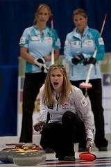 Jennifer Jones calls line as Jo-Ann Rizzo & Sherry Middaugh look on (seasonofchampions) Tags: tim winnipeg jennifer jo rings olympic olympics skip roar mb trials hortons curling 2013