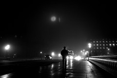 A Walker Alone (A-Lister Photography) Tags: city bridge winter light england blackandwhite mist man cold reflection london clock wet westminster weather silhouette horizontal misty fog night reflections dark landscape lights still frost alone cityscape shadows silent traffic foggy citylife dramatic freezing housesofparliament parliament bigben frosty icon clocktower silence freeze rush citylights lonely rushhour innercity icy iconic stillness atmospheric westminsterbridge reallife frosted cityoflondon clockface londonbus winterlandscape palaceofwestminster londontransport realpeople londonicon wetreflections icycold elizabethtower cityworkers cityphotography coldtemperature iconiclondon mistylandscape adamlister elizabethclocktower nikond5100 alisterphotography