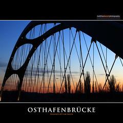OSTHAFENBRÜCKE (Matthias Besant) Tags: city bridge night river germany deutschland evening abend harbor sonnenuntergang hessen nacht harbour dusk frankfurt main east stadt ufer brücke ost frankfurtammain osthafen 2013