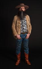 Miles Ellis, Vancouver December 2013; 7975 (billpusztai) Tags: bear man male men hat leather sign beard glasses 60s peace boots ellis hippy beards fringe dude moustache jeans jacket 70s biker fringed miles easy seventies rider groovy miner stoner 49er