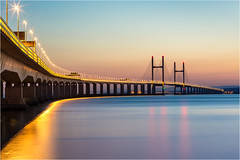 Severn Bridge At Dusk (Chris Beard - Images) Tags: bridge sunset seascape water landscape coast somerset severnbridge