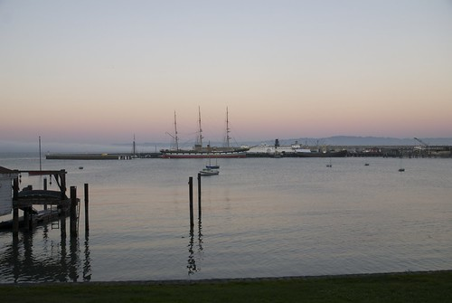 park pink blue sunset sea sky fog private square bay twilight san francisco sailing ship power wind ships ss working sails bluewater deep bank business national commercial sail aquatic shipping ghirardelli watercraft balcutha