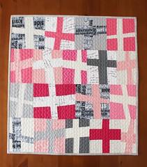 Wonky Cross Mini (teaginny) Tags: pink modern quilt cross improv wonky liberated wonkycross plusquilt