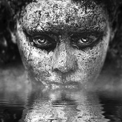 Scars To Your Beautiful! (ShanePix) Tags: graphic abstract dots circle conceptual photography portrait woman profile face nikon d4 art dark blur manipulation texture surreal black background people photo round movement photoshop illustration macro white blackandwhite reflection water eyes