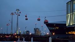 Cable Cars over the River (35mmMan) Tags: london docklands city urban metropolis dusk uk e16 nikon docks cable car emirates air line