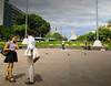 Talking in Buenos Aires (christianhaward) Tags: buenosaires argentina capital people man hombre girl personas persons day dia colores sky bluesky cielo nubes cloud green naturaleza nature