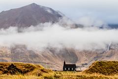 Búðakirkja á Snæfellsnesi (icecold46) Tags: búðakirkja church black skýjahjúpur cloud landslag landscape iceland ísland fjall mountain