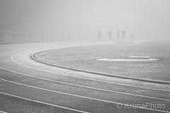 Misty exercise, Tønsberg, Norway (KronaPhoto) Tags: oto personer people exercise norway stadion mist fog tåke trening run mennesker sport tønsberg bnw bw monochrome sh