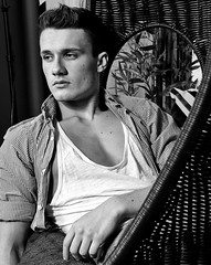 (felix-1997) Tags: guy male lad dude boy model portrait face black white bw shirt chest