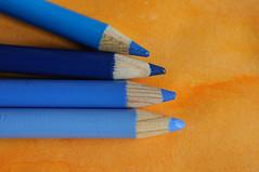 Orange and Blue - Orange et bleu (fred_v) Tags: macromondays bleu blue color couleur crayon orange pencil orangeandblue