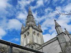 Kirk of St Nicholas Spire, Aberdeen, March 2017 (allanmaciver) Tags: kirk st nicholas church scotland local central city spire granite detail style architecture class sky weather clouds blue upwards skyline allanmaciver doric