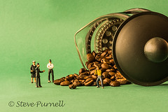 Who Spilled The Beans (Steve Purnell Photography) Tags: coffeebeans coffee beans littlepeople people little police policemen policeman policewoman photographer paparazzi investigation cafetiere accident spilledbeans brown drink roasted seed black caffeine beverage food macro photography