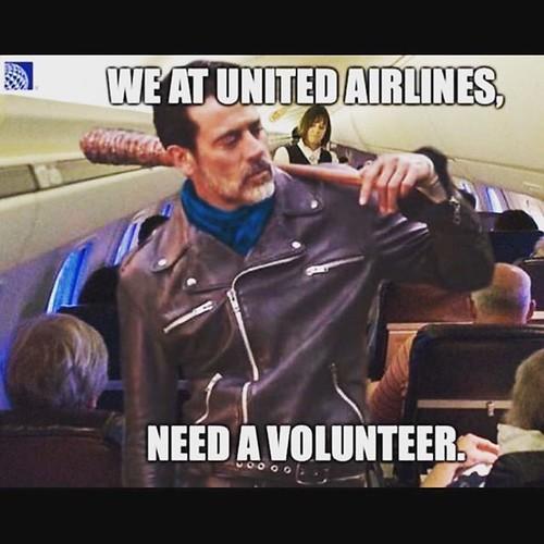 Your United Airline captain is Negan, and he's looking for volunteers. #negan #unitedairlines #united #twd #thewalkingdead #theflyingdead