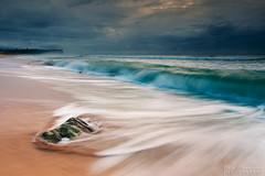Stormy Morning on Beach (-yury-) Tags: beach sea wave storm overcast dramaticsky rock sand longexposure motion water weather cloud beautyinnature monavale sydney nsw australia