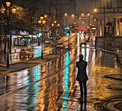 Rainy night, Dunedin (Ian@NZFlickr) Tags: night street reflections silhouette princess st dunedin otago nz