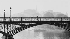 Paris street photography (CreART Photography) Tags: paris street pontdesarts bridgesofparis noiretblanc bw seine canon canon70200mm