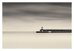 Wicklow Harbour Lighthouse (thephotobulb) Tags: landscape seascape black white bw fine art image long exposure monochrome photo clouds cloud exposition minimalism minimalistic blackandwhite lee filters big stopper ireland water sky wicklow harbour lighthouse