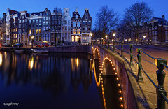 Amsterdam. (alamsterdam) Tags: amsterdam longexposure keizersgracht leidsegracht bridge reflections architecture facades