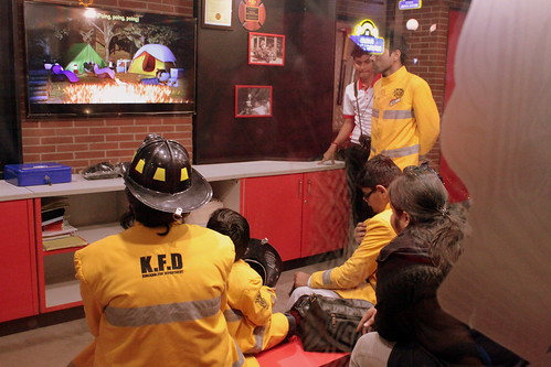 KidZania Tour for Kids with disabilities: Kids learn about fire prevention and fire safety at the fire department.