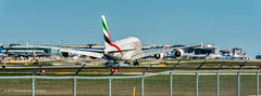 Emirates A388 landing 15L CYYZ (Bob from Caledon) Tags: a380 a380800 a6eue cyyz emiratesairlines pearsoninternationalairport torontopearsoninternationalairport aeroplanes aircraft airplanes arrivals runway15l