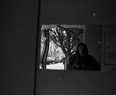 Self Portrait (kyndrasged) Tags: mamiyarb67 kodaktmax400 120 mediumformat self portrait bw sanfran
