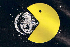 Pac Star by Rich Yasick, 1983 (Tom Simpson) Tags: pacman deathstar starwars illustration gaming richyasick 1983 1980s