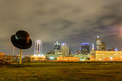Dallas Derby (Mike Girard) Tags: bowlerhat cedars dallascounty derbyhat downtown texas dallas nightphotography nikond7100 sculpture