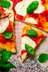 Pizza Margherita.. Top view. selective focus (Zoryanchik) Tags: pizza margarita tomato cheese basil food mozzarella italian top margherita baked tasty dinner view traditional meal cuisine wooden dough vegetarian lunch red snack vegetable homemade