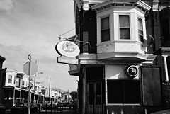 R1-004-0A (David Swift Photography Thanks for 21 million view) Tags: davidswiftphotography philadelphia westphiladelphia oldsigns signs storefronts vacantstorefronts baywindow restaurants closedrestaurants lunch rowhouses 35mm streetphotography ilfordxp2 leicaminilux