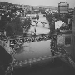 #Bridges (akarakoc) Tags: instagramapp square squareformat iphoneography uploaded:by=instagram moon zürich letten oberer blackandwhite mono bridge mymavic dji