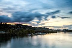 the sunset view from the Sellwood Bridge (Ben McLeod) Tags: oregon portland willametteriver clouds dusk floatinghomes longexposure river skyline sunset